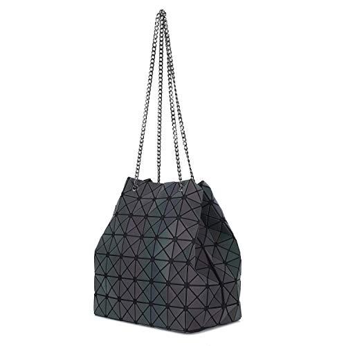 (Mufly Geometric Luminous Chain Handbag for Women Diamond Lattice Shoulder Bag Purse Tote Bag Holographic Top-Handle Bags (Luminous))