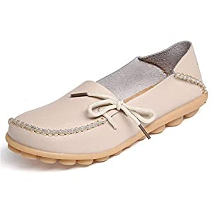 WYSBAOSHU Women's Leather Loafers Flats Slip On Moccasins Casual Driving Shoes