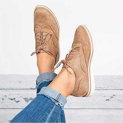para Zapatillas Alpargatas Mujer QinMM de otoño Khaki Plano Primavera Respirable Deportes Gym Cordones Zapatos wIqTgHI