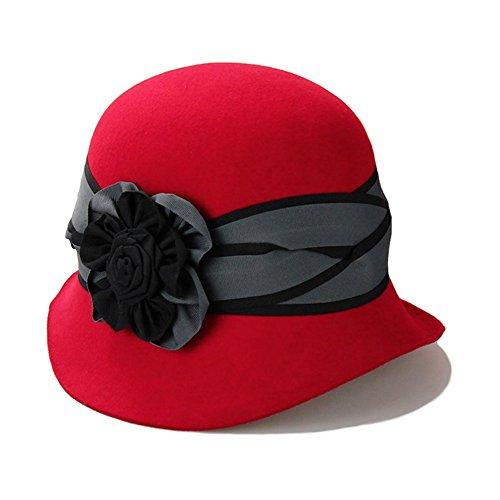 Women's 100% Wool Felt Hat Winter Cloche Hat 3 Colors (Red)