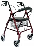 Karman Healthcare R-4600-BD Aluminum Rollator with Standard Seat Height, Burgundy, 6 Inches Casters by Karman Healthcare