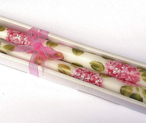 (Decorative Dripless Romantic Hand Painted Pink Hydrangea Flower Taper Candles Shabby Chic Floral)