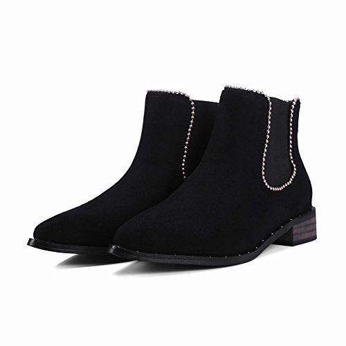 Latasa Womens Pointed-toe Chunky Heels Ankle Chelsea Boots Black (Faux Nubuck) IB3AcPng