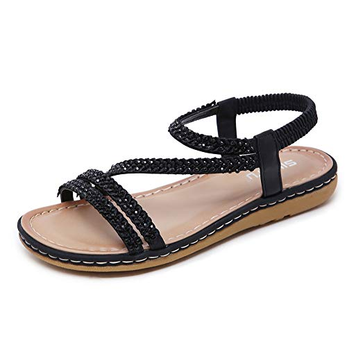 - Wollanlily Women's Bohemia Glitter Summer Flat Sandals Comfortable Casual Beach Shoes Elastic Ankle Strap Flip Flops Sandals Black US 9.5