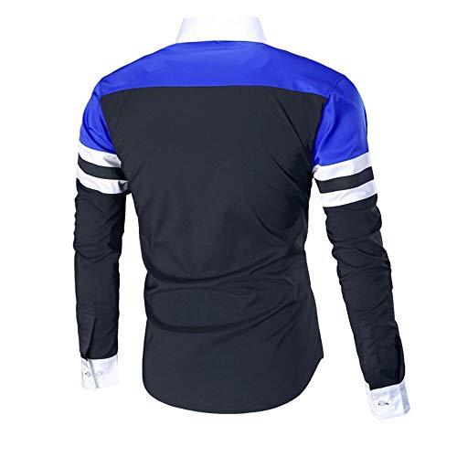 Fit Uomo Lunga Blu Slim Camicia Maniche Stampa A Cotone Manica Lungo Da Elegante C Qinsling Bianca wZ7qt5