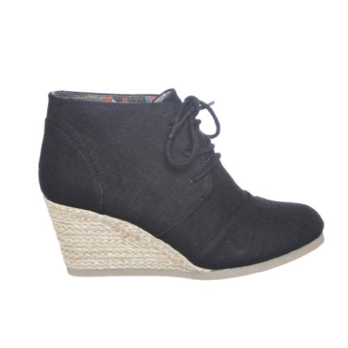 Women Ankle Booties Lace up Wedge Shoes (7, blacklin_S) [Apparel]