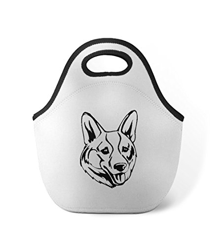 Welsh Corgi Head (Welsh Corgi, Cardigan Head Black Neoprene Insulated Lunch Box Bag)