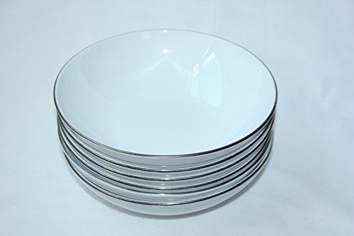 Coupe Centura White - Corning Centura White Platinum Edge Coupe Cereal Soup Bowls - Set of 8
