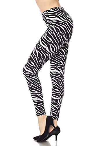 Forever Heather Women's Printed Leggings High Waist Tummy Control Stretchy Pant Yoga Workout Fitness Fashion L1 (White Zebra)]()