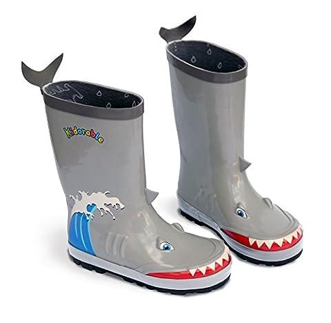 Kidorable Big Boys' Shark Rain Boots, Gray, 1