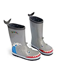 KIDORABLE Little Boys' Shark Rain Boots, Gray, 12