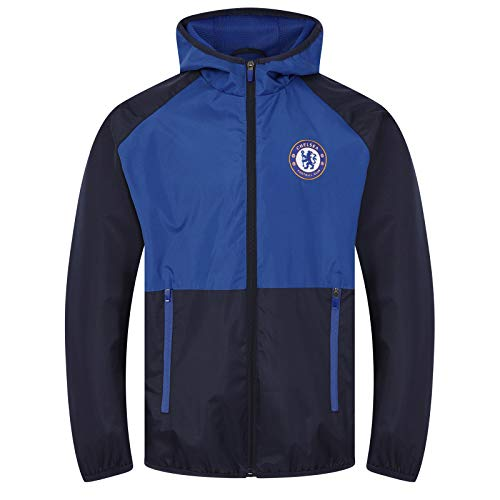 Chelsea FC Official Soccer Gift Boys Shower Jacket Windbreaker Navy 12-13 Yrs