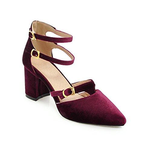 Chaussures Bouche Double Taille Haut Fait Femmes Talon avec Purple Sandales Grande Peu Profonde épaisseur Boucle Romain zqrIwzO