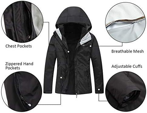 3-in-1 Warm Waterproof Coat with Windproof Fleece Liner Diamond Candy Womens Winter Ski Jacket