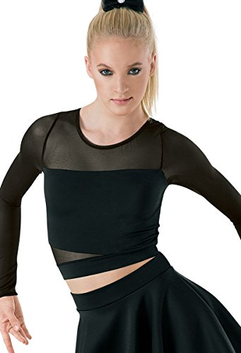 Balera Dance Crop Top with Long Sleeves and Mesh Accents