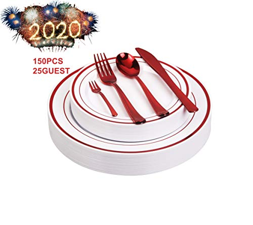 125pcs Disposable Plastic Plates and Cutlery Set/Party Tableware - Including 25 Red Trim Dinner Plates, 25 Salad or Dessert Plates & 25 Polished Red Forks Knives & Spoons - Bonus 25 Dessert Forks (A Salads Party For Christmas)