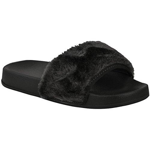 Fashion Sete Womens Flat Comfy Faux Fur Trim Gomma Sliders Infradito Muli Taglia Nero