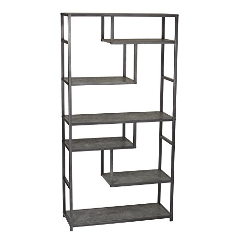 - Household Essentials 8090-1 Tall Open Bookcase | Geometric Storage Shelves | Faux Slate Concrete