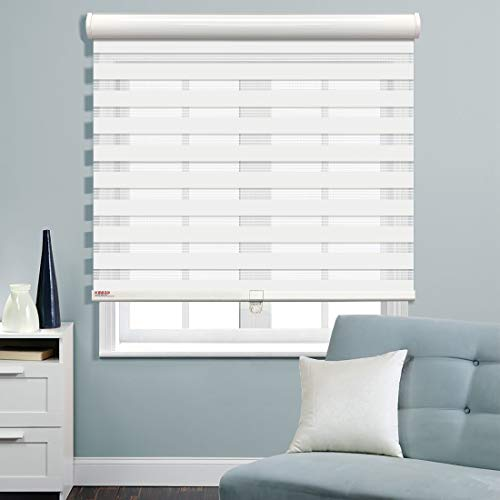 Keego Cordless Window Blinds Free-Stop Zebra Blinds, Horizontal Window Blind Dual Layer Roller Shades Day and Night Curtain Drapes, Sheer or Privacy [Home Series White, 34″ W x 64″ H]