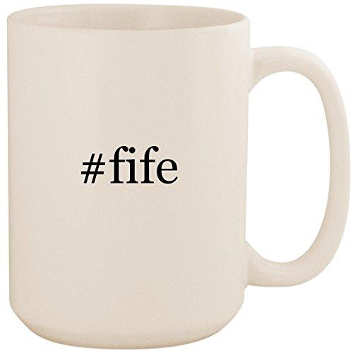 #fife - White Hashtag 15oz Ceramic Coffee Mug Cup