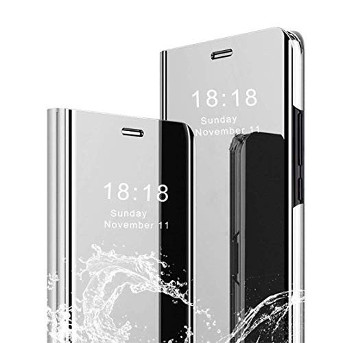 LANYOS Compatible Samsung Galaxy S8 Flip Case,Full Body Protection Translucent Electroplate Plating S-View Mirror Cover Built in Kickstand (Silver)
