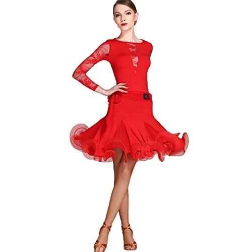 Latini Le Per Cha Rumba Professionista xxl Latino Abbigliamento Gonna Ballo Pratica Da Wqwlf Xxl Donne Tuta Abiti Red wxqF861Yn