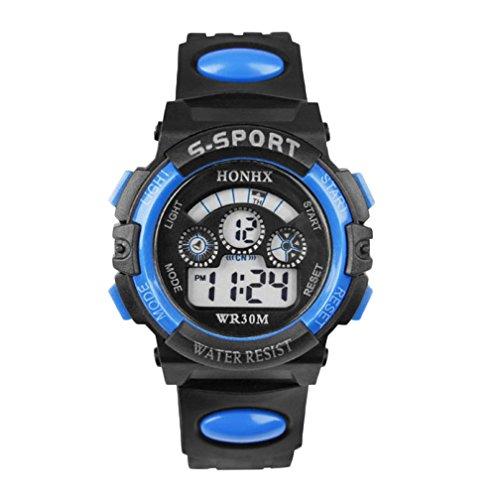 Kids Indiglo Elastic Strap Watch (UPLOTER 2016 Boy Waterproof Digital LEDQuartz Alarm Date Children Sports Wrist Watch Blue)