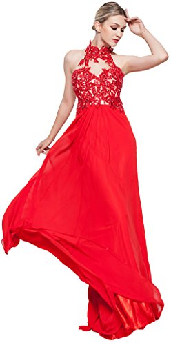 Meier Women's High Neck Lace Sheer Top Prom Pageant Formal Dress Red-8