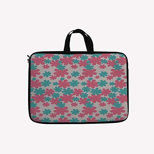 3D Printed Double Zipper Laptop Bag,Burst Lush Grand Forest Plants Pastel Colored,14 inch Canvas Waterproof Laptop Shoulder Bag Compatible with 14