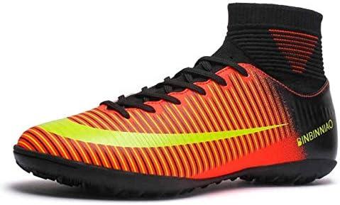 靴 人のための最高の滑り止めの身につけられるおよび快適なフットボールのブーツのサッカーのクリート (色 : TF Black Orange, サイズ : 5)