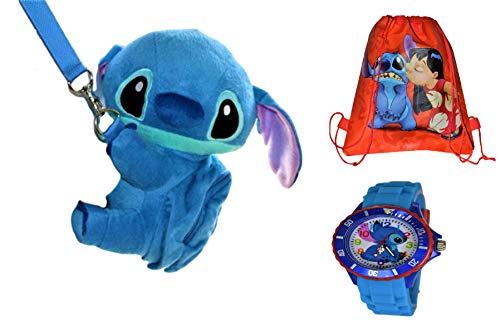 Disney Stitch Set . Soft Plush Crossbody/Shoulder Mini Bag with Small Pocket + Stitch Watch For kids. H 9