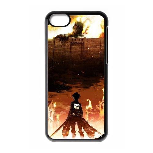 Attack On Titan coque iPhone 5C Housse téléphone Noir de couverture de cas coque EBDOBCKCO13954