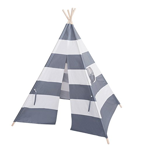 teepee tent Kids Indoor Play Tent Grey and White Stripes Cotton Canvas Portable Child Play for Boys and Girls by teepee tent