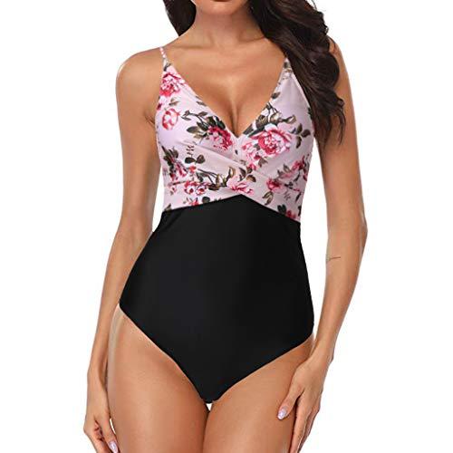 Swimsuits for Women Corrugated Pleated Tube Up One Pieces Bikini Floral Print Swimwear Beachwear (S, Pink)