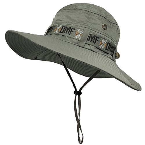 LETHMIK Fishing Sun Boonie Hat Summer UV Protection Cap Outdoor Hunting Hat Grey - 22 Hat Size