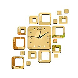 Cideros DIY Frameless Mirror Wall Clock Non-ticking Mute Silent Acrylic 3D Decal Sticker Home Modern Removable Decoration for Living Room, Office, Bedroom and Kitchen, Style B Gold