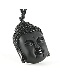 HZman Jewelry Hand Carved Natural Genuine Obsidian Buddha Head Pendant necklace