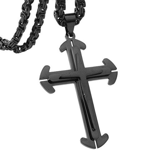 Hot Sale 5mm Black Byzantine Chain Necklace Stainless Steel Men's Cross Pendant ,20-34
