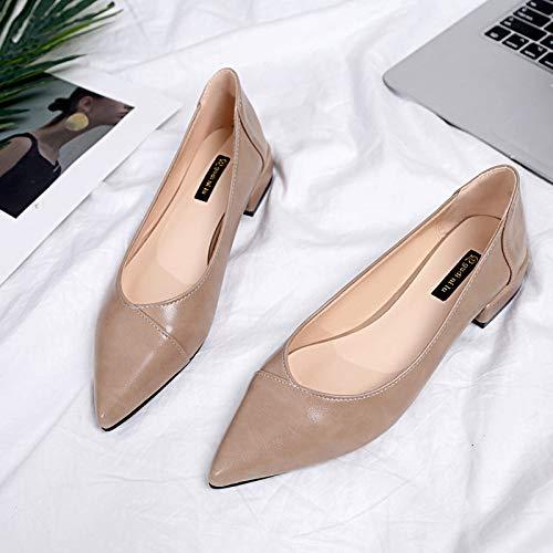 alto Alto tacón Khaki zapatos Boca Zapatos De Baja Señora Desnudo Yukun Color Boca Estilete de Zapatos Baja Tacón Sueltos Verano Salvaje Acentuado wcgqWFF1