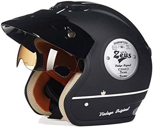 ZJJ ヘルメット- セミカバーヘルメット、マルチカラーおよびマルチサイズオプションのヘルメット、雨および紫外線保護用ヘルメット、ブラウンショートレンズ (色 : マットブラック まっとぶらっく, サイズ さいず : L l)
