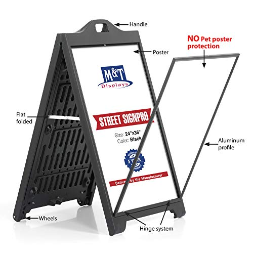 Sandwich Board Sign - Street SignPro Poster, A-Frame Sidewalk Curb Sign, Folding Portable Double Sided Advertising Display Sandwich Board (24x36 Without Lens, Black)