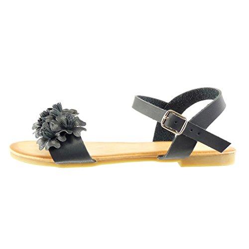 Angkorly - Zapatillas de Moda Sandalias mujer flores tanga Talón Tacón ancho 1.5 CM - Negro