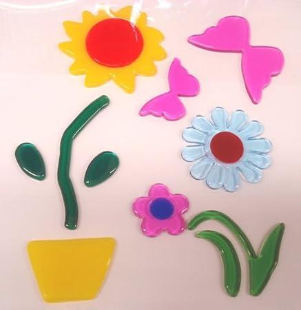 Flowers butterfly gel window stickers