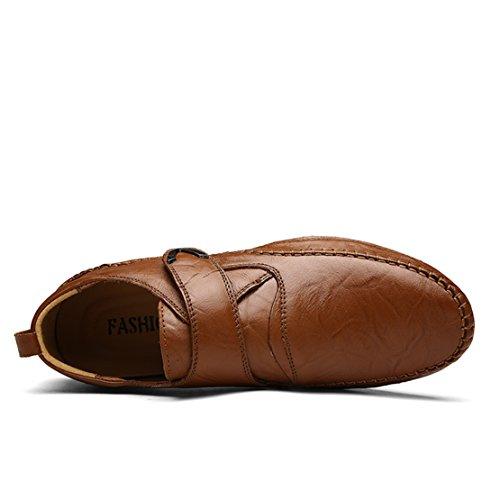 Mocasines De Cuero Go Tour Para Hombre Zapatos De Conducción Casuales (39 M Eu / 7 D (m) Us, 3 Brown)