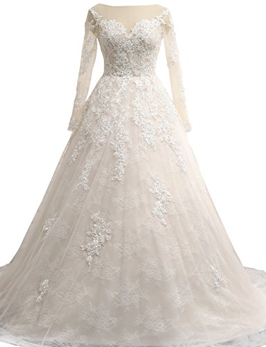 Erosebridal Brautkleider Hochzeitskleider Prinzessin Langarm Weiß Spitze wFaqSF
