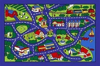 Paradise Kids Area Rug Street Map Blue Carpet 7ft.4in.x10ft.4in.