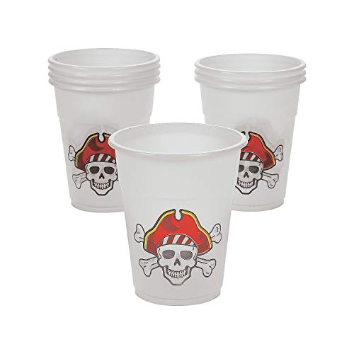 Fun Express - Pirate Design Disposable Cups (50pc) for Party - Party Supplies - Drinkware - Disposable Cups - Party - 50 -
