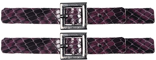 Mibo Sew On Faux Leather Tab Closure 1cm x 9cm ajustable Imitation Snake Skin Violet with Square Gunmetel Buckle 2 Pack