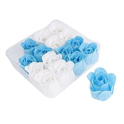 eDealMax caja envuelta 16pcs del jabón del pétalo del brote de Rose Flor Azul Blanco Para