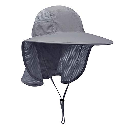 Lenikis Unisex Outdoor Activities UV Protecting Sun Hats with Neck Flap Black Grey (Hat Summer)